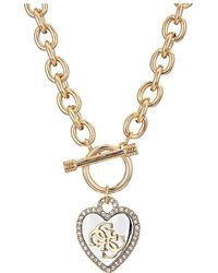 Guess - Pave Framed Heart Toggle Necklace With 4 G Logo (silver/gold/crystal) Necklace - Lyst