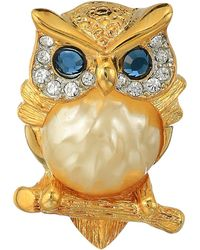 Kenneth Jay Lane | Gold/tortoise Rhine Pearl Body/saphire Eyes Owl Pin | Lyst