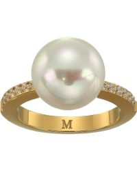 Majorica - 12mm Round Pearl Yellow Plated Ring With 1.25mm Of Cz Accents - Lyst