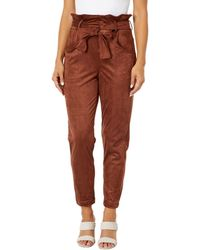 Blank NYC Faux Suede Paperbag Self Belt Pants - Brown