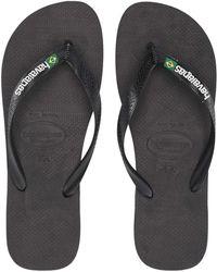 Havaianas - Brazil Logo Flip Flops (marine Blue) Men's Sandals - Lyst