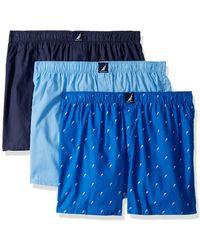 Nautica Cotton Woven 3 Pack Boxer - Blue
