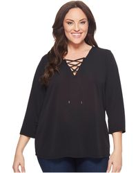 CK Calvin Klein - Plus Size Three-quarter Sleeve Lace-up Top - Lyst