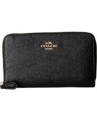 COACH - Crossgrain Leather Medium Zip Around Wallet (li/black) Wallet Handbags - Lyst