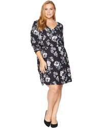 Adrianna Papell - Plus Size Etch Flora A-line Dress (black Multi) Women's Dress - Lyst