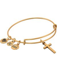 ALEX AND ANI - Cross Ii Bangle (rafaelian Silver) Bracelet - Lyst