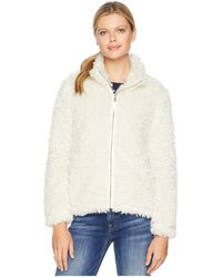 Dylan By True Grit - Light Sherpa Fur Classic Zip Jacket With Heather Knit Lining (white) Women's Coat - Lyst