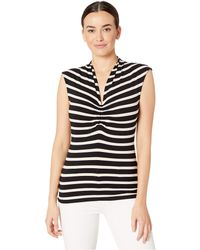 Vince Camuto - Sleeveless Cf Cinched V-neck Shadow Stripe Top - Lyst
