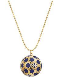 Tory Burch - Celestial Logo Locket Necklace - Lyst