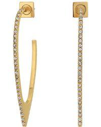Vince Camuto Pave Hoop Earrings - Metallic