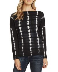 Vince Camuto Long Sleeve Boatneck Tie-dye Pullover Clothing - Black
