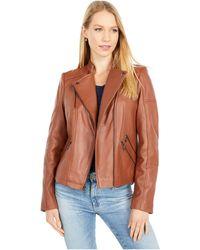 Sam Edelman Leather Moto Jacket - Brown