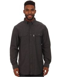 Carhartt - Fort Solid L/s Shirt (black Chambray) Men's Long Sleeve Button Up - Lyst