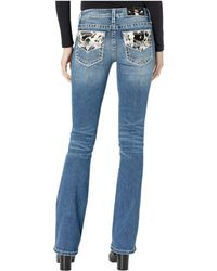 Miss Me Mid-rise Bootcut With Cow Hide Flap In Dark Blue