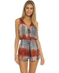 Becca Tide Pool Rayon Short Romper Cover-up - Brown