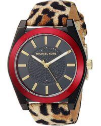 Michael Kors Women's Channing Three-hand Cheetah Print Leather Watch - Brown