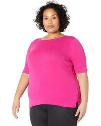 Lauren by Ralph Lauren Plus Size Stretch Cotton Boat Neck Tee T Shirt - Pink
