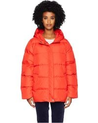 Eileen Fisher - Quilted Recycled Nylon Hooded Coat (red Lory) Women's Coat - Lyst