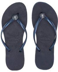 da6c71e2a6da83 Havaianas - Slim Crystal Poem Flip Flops (rose Gold 1) Women s Sandals -  Lyst