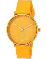 Skagen Aaren Kulor 36mm Three-hand Silicone Watch Watches - Yellow