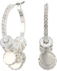 Lauren by Ralph Lauren - Micropave Charm Hoop Earrings (silver) Earring - Lyst