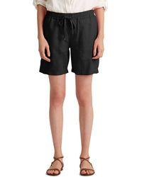 Lauren by Ralph Lauren Linen Drawcord Shorts - Black