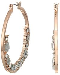 Guess - Hoop With Floating Stones On Bottom Earrings - Lyst