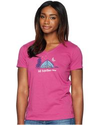 Life Is Good. - All Together Now Crusher Vee Tee (sassy Magenta) Women's T Shirt - Lyst