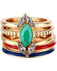 Guess 5 Piece Mixed Stack Ring Set - Multicolor