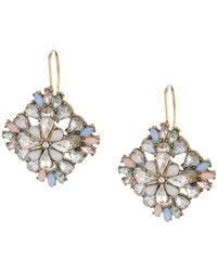 Steve Madden - Floral Jeweled Statement Earrings (blue/gold) Earring - Lyst