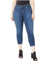 Silver Jeans Co. - Plus Size Suki Mid-rise Curvy Fit Skinny Crop Jeans In Indigo W43969ssx329 - Lyst