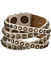 Leatherock - B340 (cracked White) Bracelet - Lyst