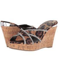 Guess - Eleonora (beige/black Fabric) Women's Wedge Shoes - Lyst