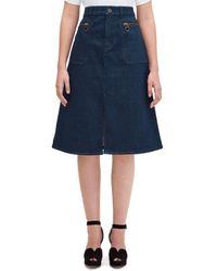 Kate Spade Spade Zip Denim Skirt - Blue