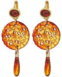 Kenneth Jay Lane - Small Gold Tortoise Top/craved Tortoise/tortoise Drop Wire Earrings (tortoise) Earring - Lyst