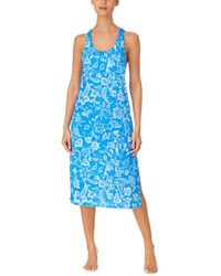Lauren by Ralph Lauren Slub Jersey Knit Sleeveless Twisted Back Ballet Gown With Soft Bra - Blue