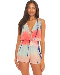 Becca Tide Pool Rayon Short Romper Cover-up Swimsuits One Piece - Multicolor