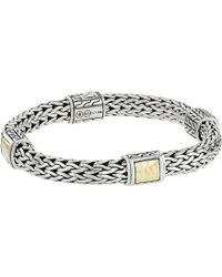 John Hardy - Classic Chain 7.5mm Hammered Station Bracelet With 18k Yellow Gold (silver/18k) Bracelet - Lyst