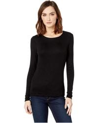 Three Dots - Luxe Rib Long Sleeve Crew Neck Top (garnet) Women's Clothing - Lyst