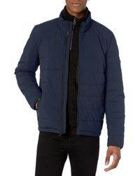 DKNY Jon Quilted Stand Collar Puffer Jacket - Blue