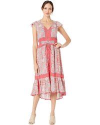 Lucky Brand Border Print Felice Dress - Red