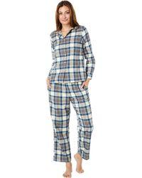 L.L. Bean Petite Scotch Plaid Flannel Pajamas Plaid - Blue