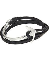 Miansai - Anchor Half Cuff On Leather Bracelet (asphalt) Bracelet - Lyst
