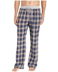True Grit Dakota Plaid Flannel Pajama Pants With Heather Trim (grey) Men's Pajama - Blue
