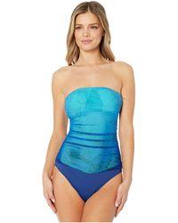 Lauren by Ralph Lauren Ombre Palm Bandeau Underwire One-piece - Blue