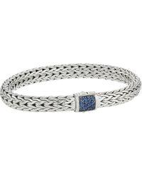 John Hardy - Classic Chain 7.5mm Bracelet With Blue Sapphire (silver) Bracelet - Lyst
