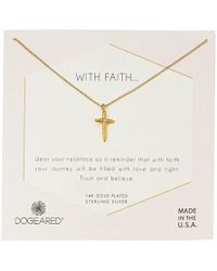 Dogeared - With Faith...cross Pendant With Crystal Inset Necklace (gold Dipped) Necklace - Lyst