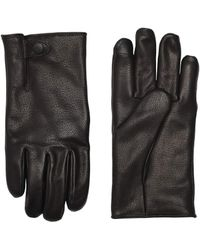UGG Tabbed Splice Vent Leather Tech Gloves With Sherpa Lining - Black