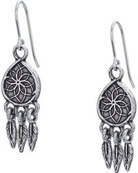 ALEX AND ANI - Dreamcatcher Hook Earrings (rafaelian Silver) Earring - Lyst