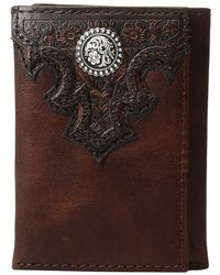 Ariat - Overlay Scroll Concho Croc Embossed Trifold Wallet - Lyst